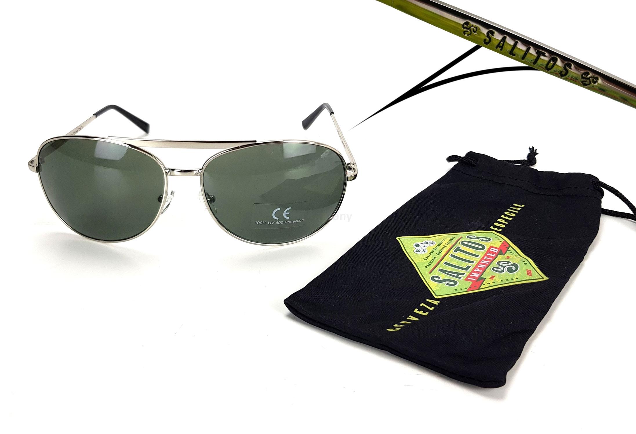 Salitos Sonnenbrille Party Flieger Brille mit Metall gestell und Etui in schwarz - mit 400 UV Schutz