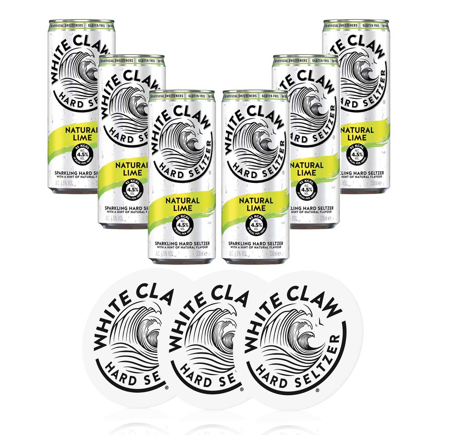 White Claw natural Lime 6er Set je 330ml (4,5% Vol) + 3 Untersetzer ready to drink / Longdrink sparkling hard seltzer - [Enthält Sulfite]