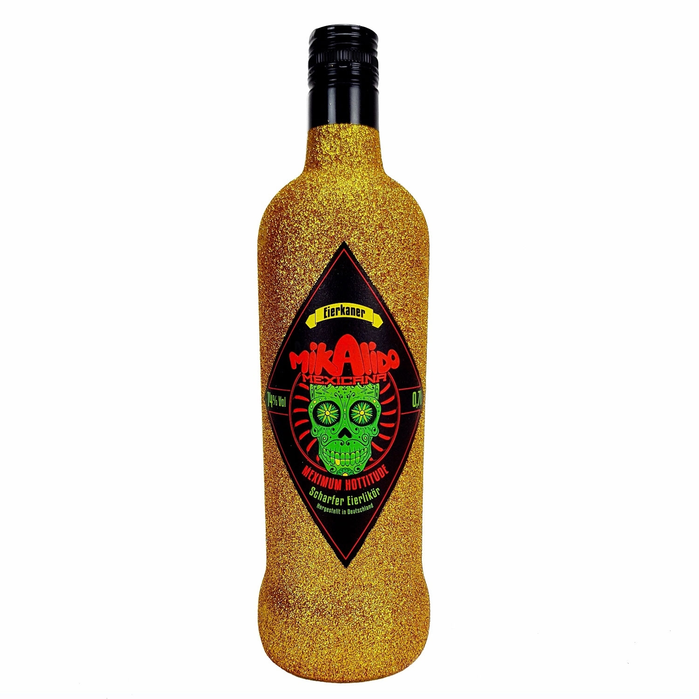 Mikalido Mexicana Eierkaner Scharfer Eierlikör 0,7l (14% Vol) Blin Bling Glitzerflasche in gold -[Enthält Sulfite]