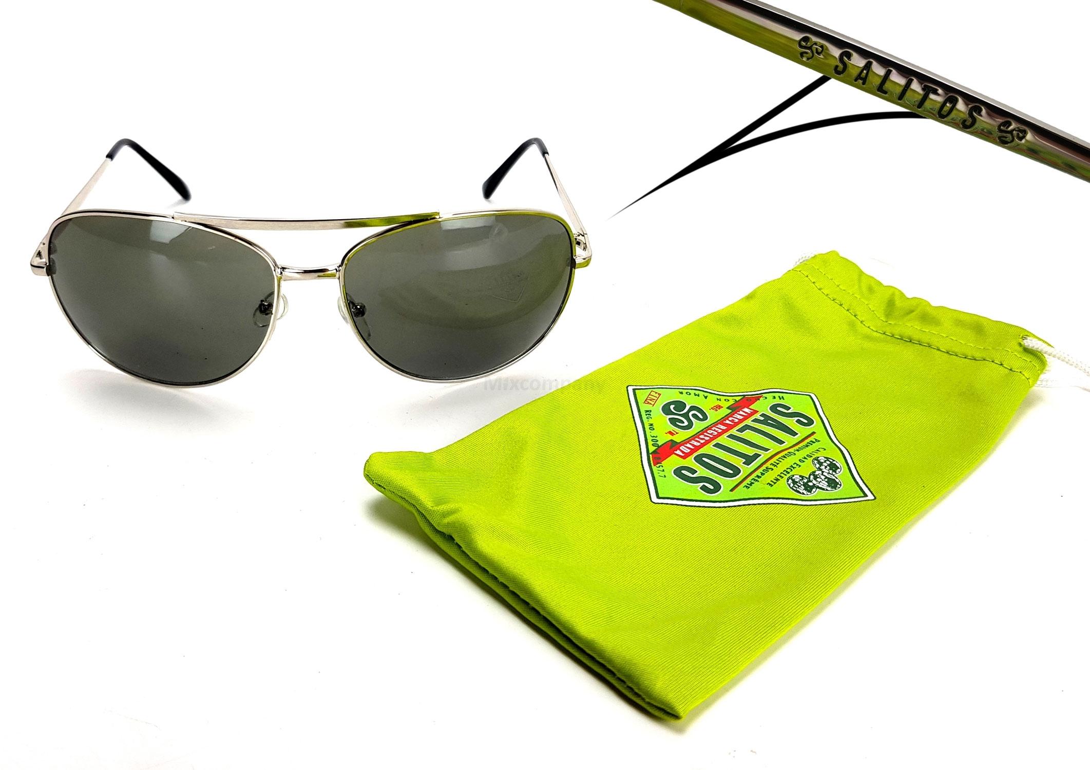 Salitos Sonnenbrille Party Flieger Brille mit Metall gestell und Etui in grün - mit 400 UV Schutz