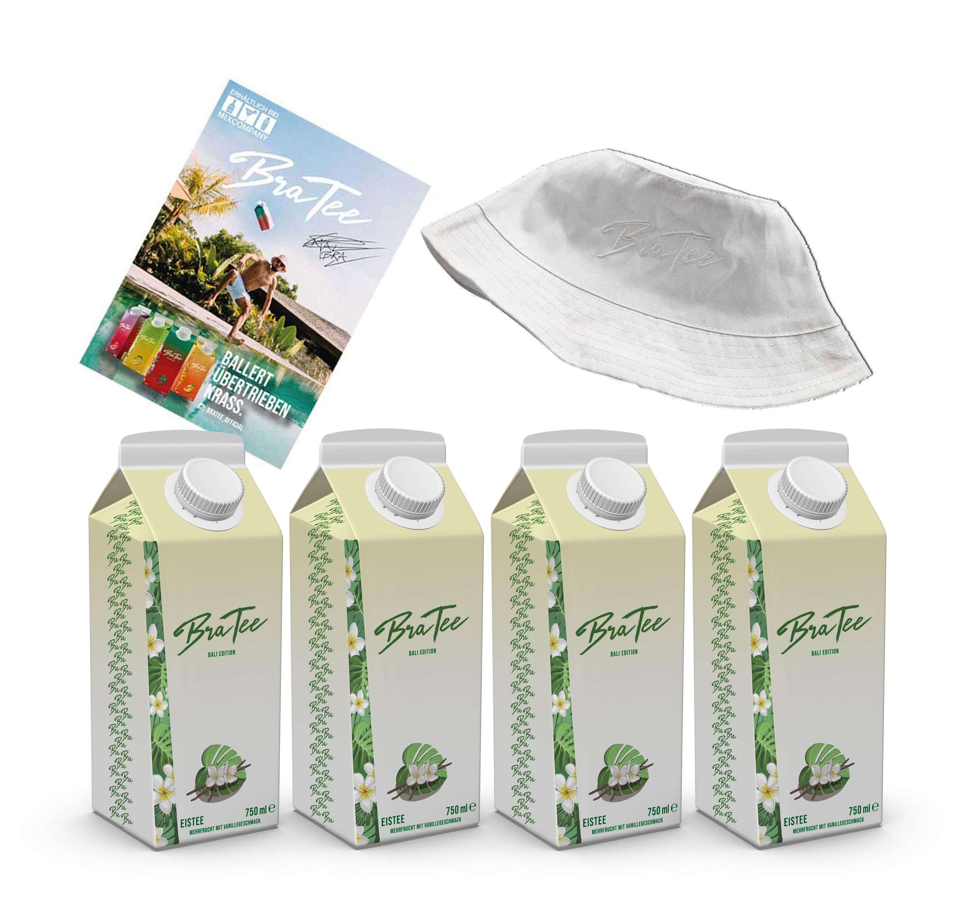 Capital BraTee Bali Edition 4er Set Special Eistee je 750ml + Autogrammkarte und Hut BRATEE Limited Edition Ice tea Mehrfrucht mit Vanillegeschmack mit Capi-Qualitäts-Siegel - Du weisst Bescheid