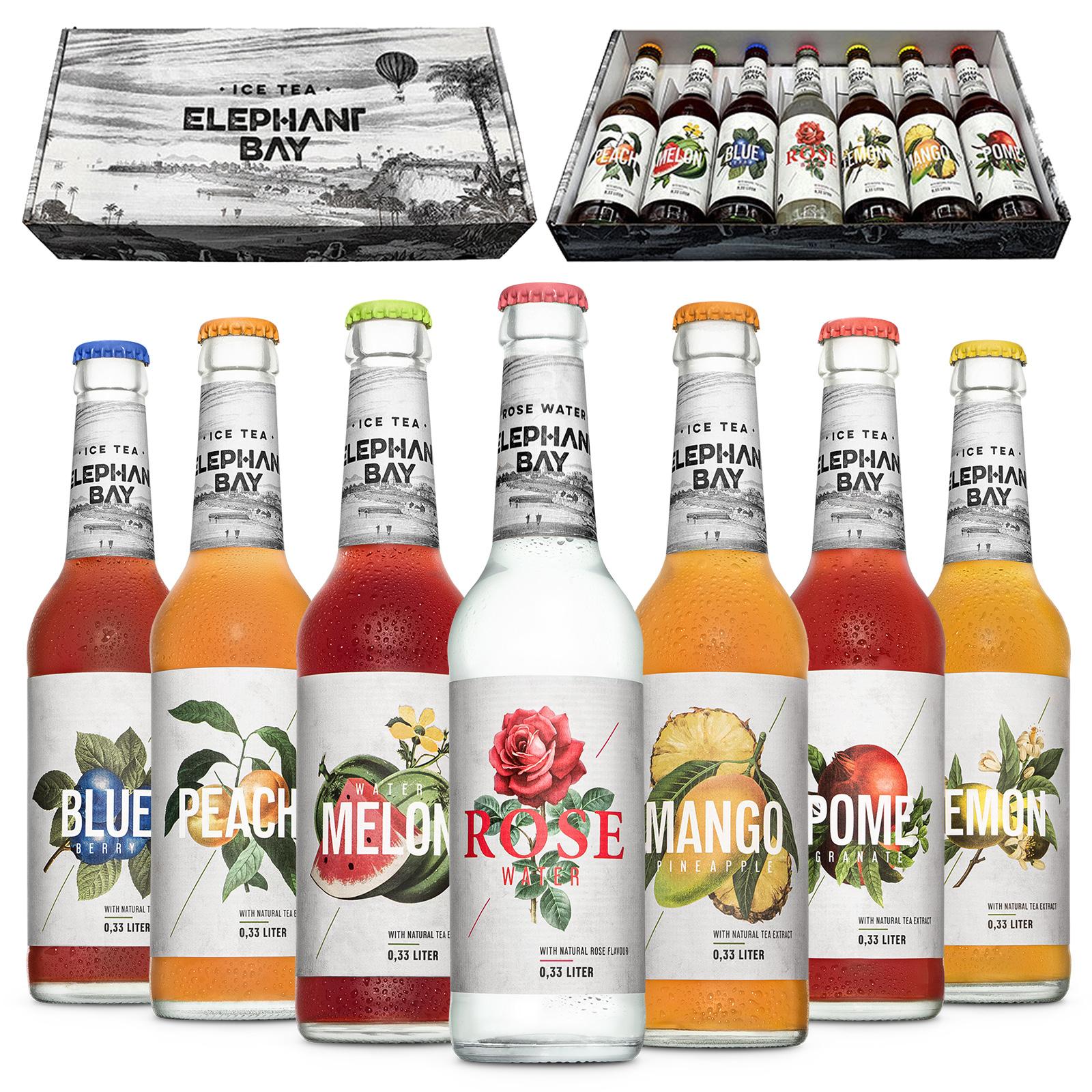 ICE TEA Eistee Elephant Bay - 7 Sorten Probier Set - Peach + Melon + Blueberry + Lemon + Mango + Pomegranate + Rose Water je 330ml