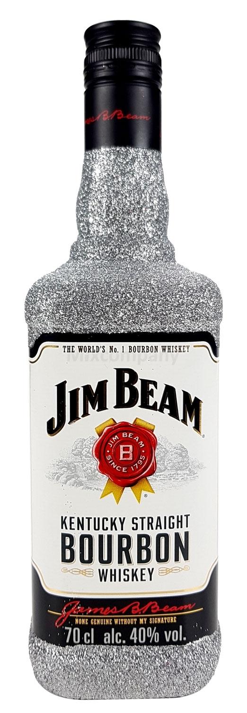 Jim Beam Bourbon Whiskey 0,7l 700ml (40% Vol) Bling Bling Glitzerflasche in silber -[Enthält Sulfite]