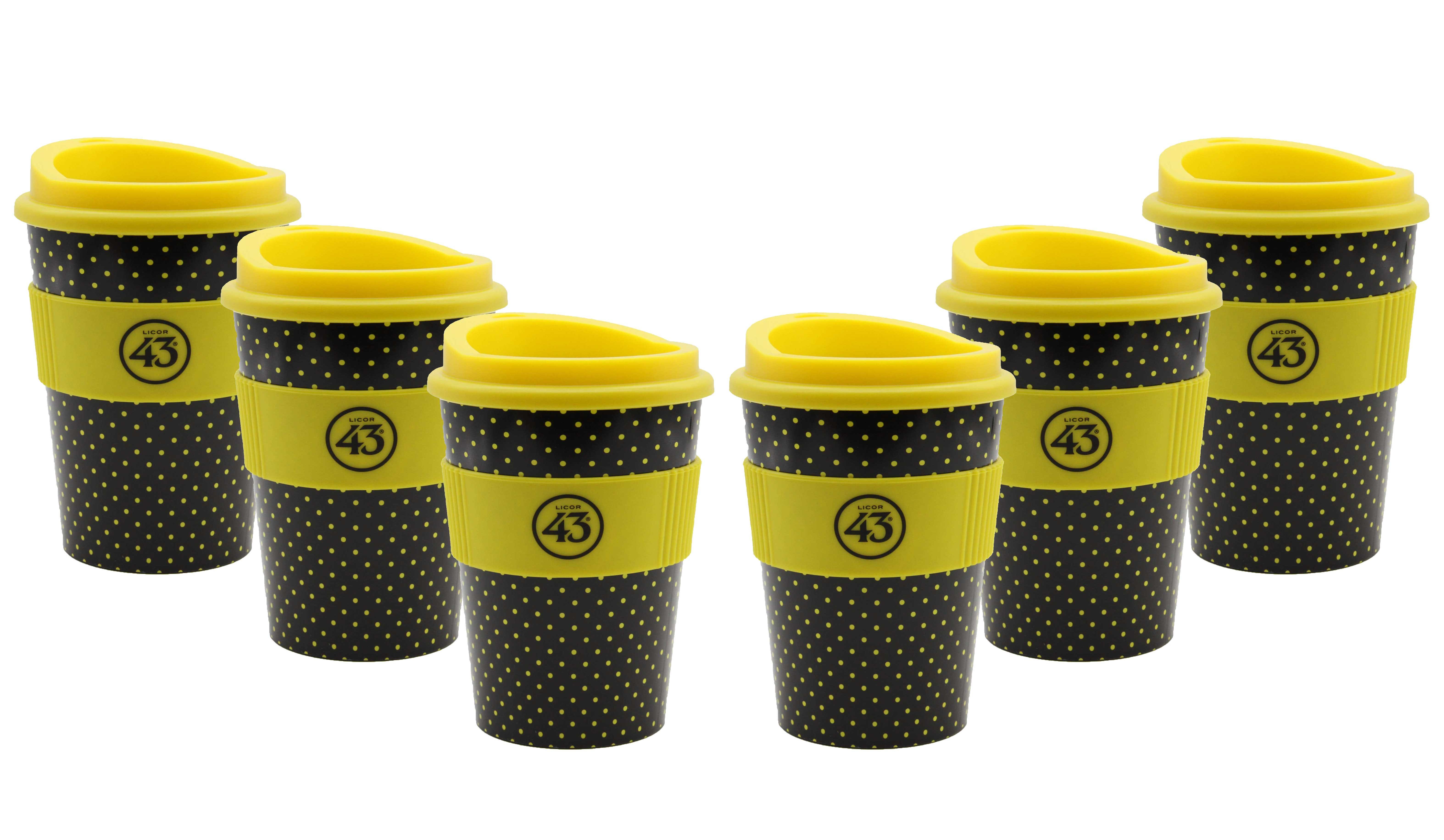 Licor 43 Kaffeebecher - 6er Set Trinkbecher Coffee to go mit Deckel Likör Liquor 43er