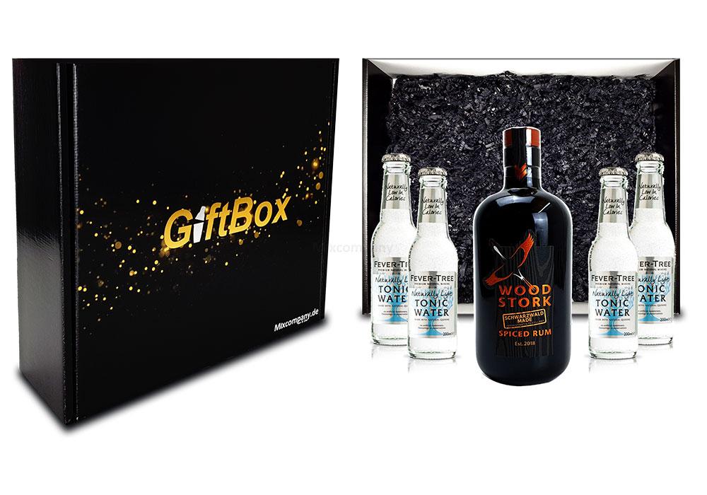 Mixcompany Geschenkset - Wood Stork Rum 0,5L (40%Vol) + 4 x Fever-Tree Naturally light Tonic Water 0,2l MEHRWEG inkl. Pfand- Wood Stork Rum Geschenk Set [Enthält Sulfite]