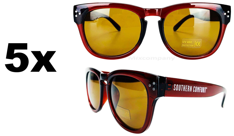 Southern Comfort Nerd Sonnenbrille braun UV400 Unisex - 5er Set Retro Vintage Style Party Festival Bar