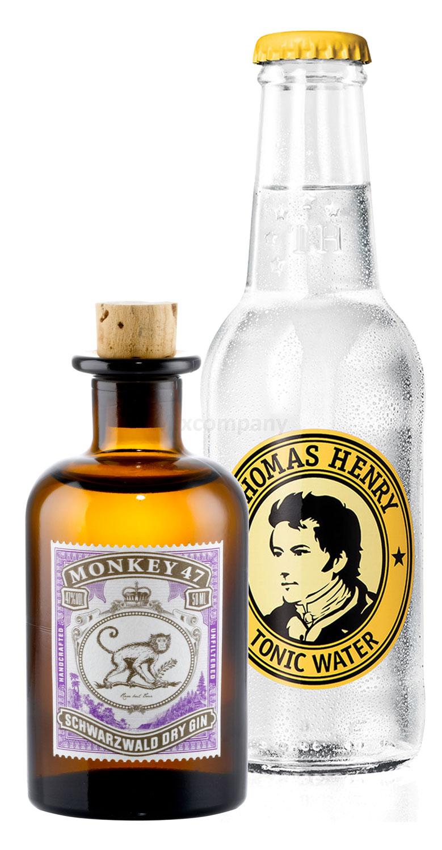 Gin Tonic Probierset - Monkey 47 Schwarzwald Dry Gin 50ml (47% Vol) + Thomas Henry Tonic Water 200ml inkl. Pfand MEHRWEG