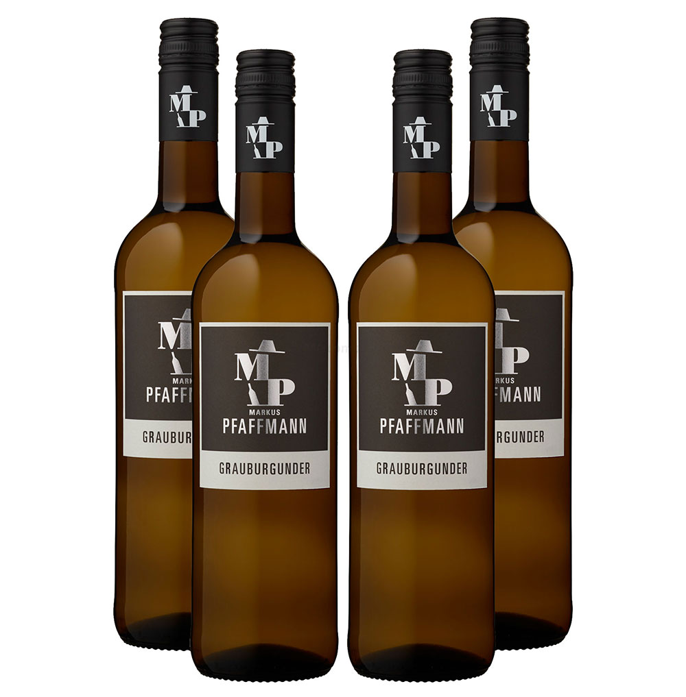 Markus Pfaffmann - 4er Set Grauburgunder - Pfalz / Deutscher Qualitätswein - Trocken 0,75L (12,5% Vol) -[Enthält Sulfite]