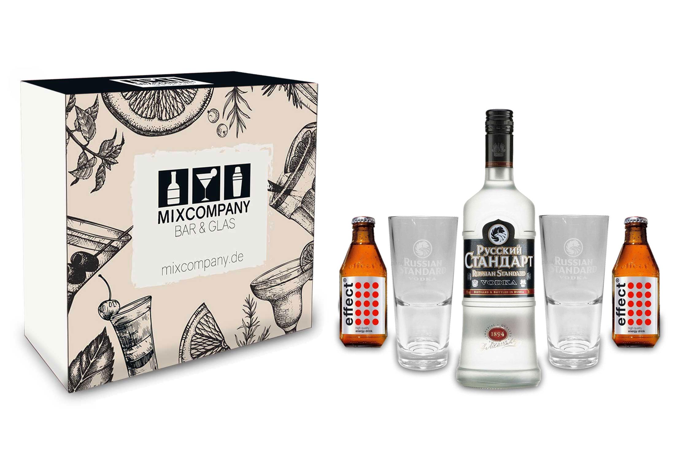 Russian Standard Vodka Set / Geschenkset -Russian Standard Vodka 0,7l 700ml (40% Vol) + 2x Gläser + 2x Effect Energy Drink 200ml inkl. Pfand MEHRWEG