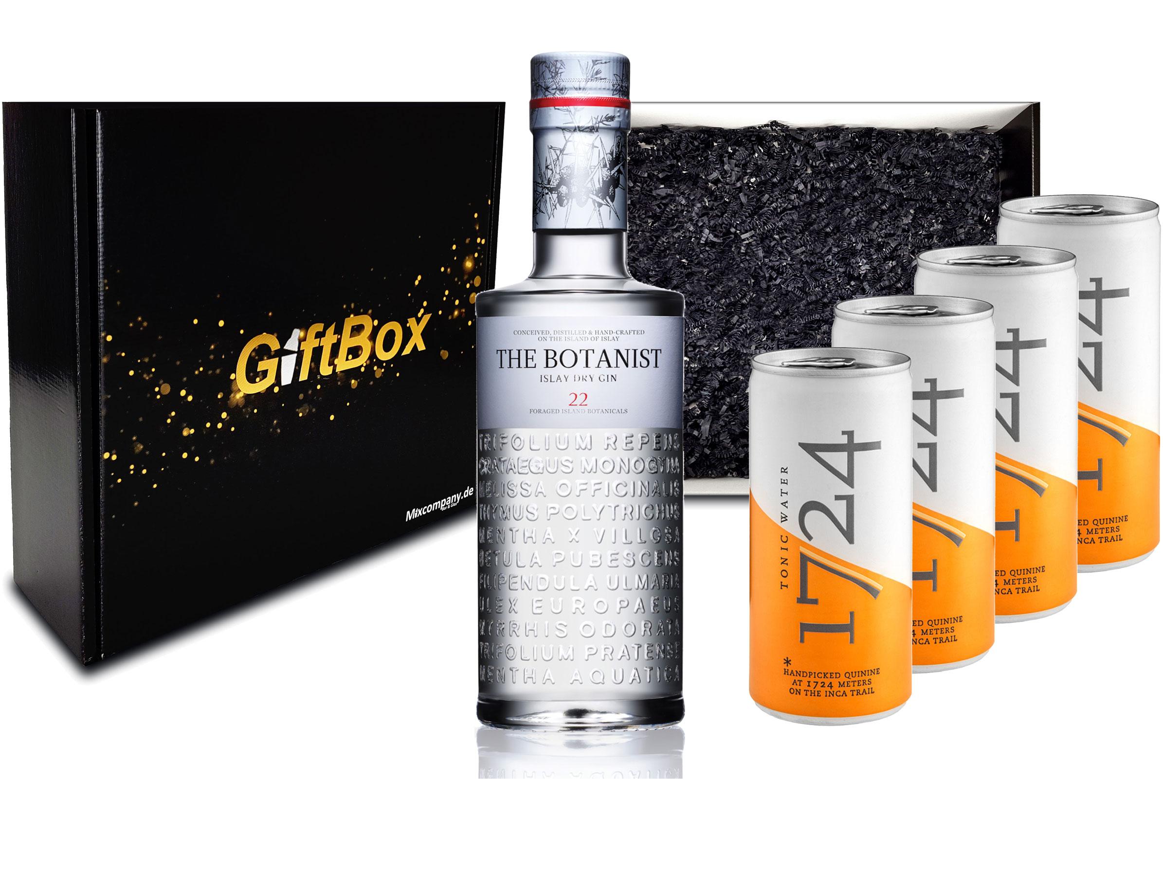 Gin Tonic Set Giftbox Geschenkset - The Botanist Islay Dry Gin 0,7l 700ml (46% Vol) + 4x 1724 Tonic Water Dose 200ml inkl. Pfand EINWEG -[Enthält Sulfite]