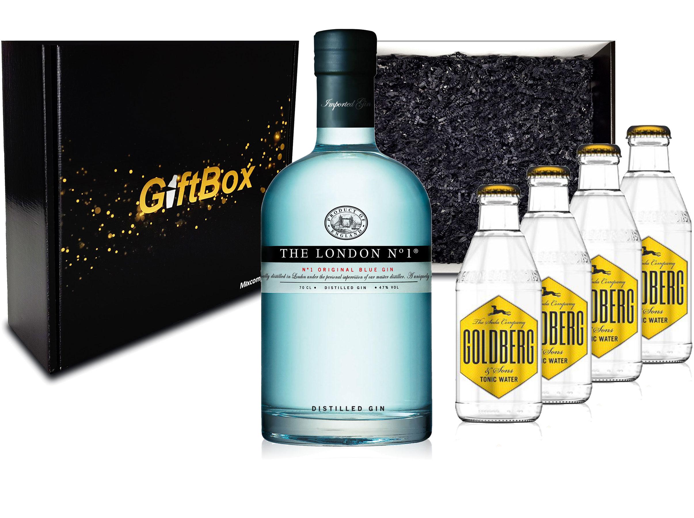 Gin Tonic Giftbox Geschenkset - The London N1 Blue Gin 0,7l 700ml (47% Vol) + 4x Goldberg Tonic Water 200ml inkl. Pfand MEHRWEG + Geschenkverpackung