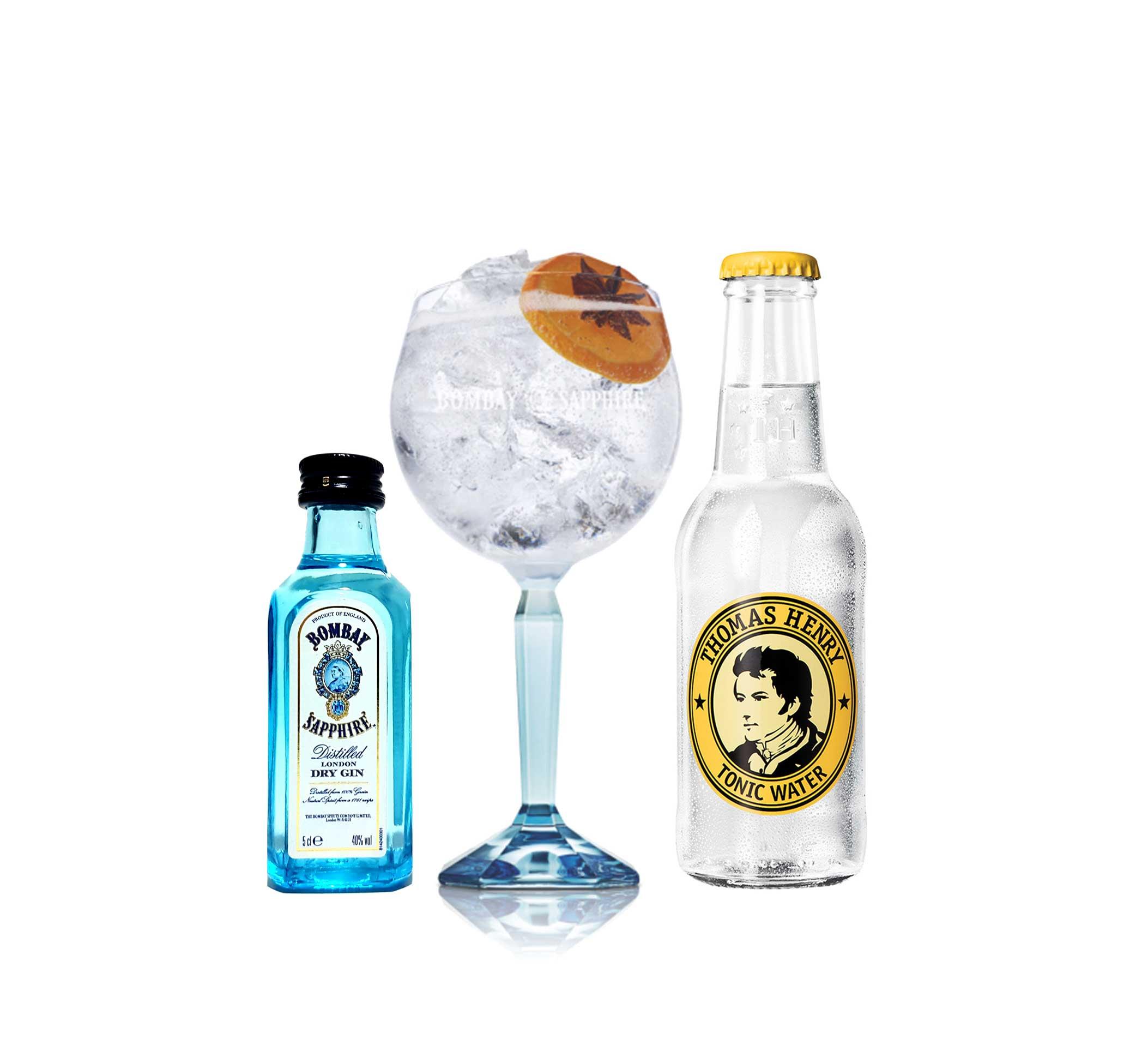 Bombay Sapphire Set - Bombay Sapphire Gin 50ml (40% Vol) + Ballongläser + Thomas Henry Tonic Water 200ml - Inkl. Pfand MEHRWEG