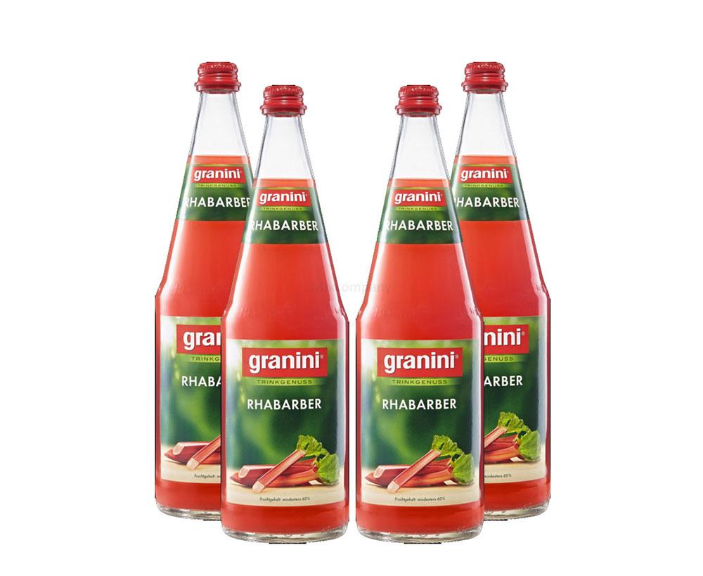 Granini Rhabarber Saft - 4er Set Granini Trinkgenuss - 4x Rhabarber 1L Saft inkl. Pfand MEHRWEG