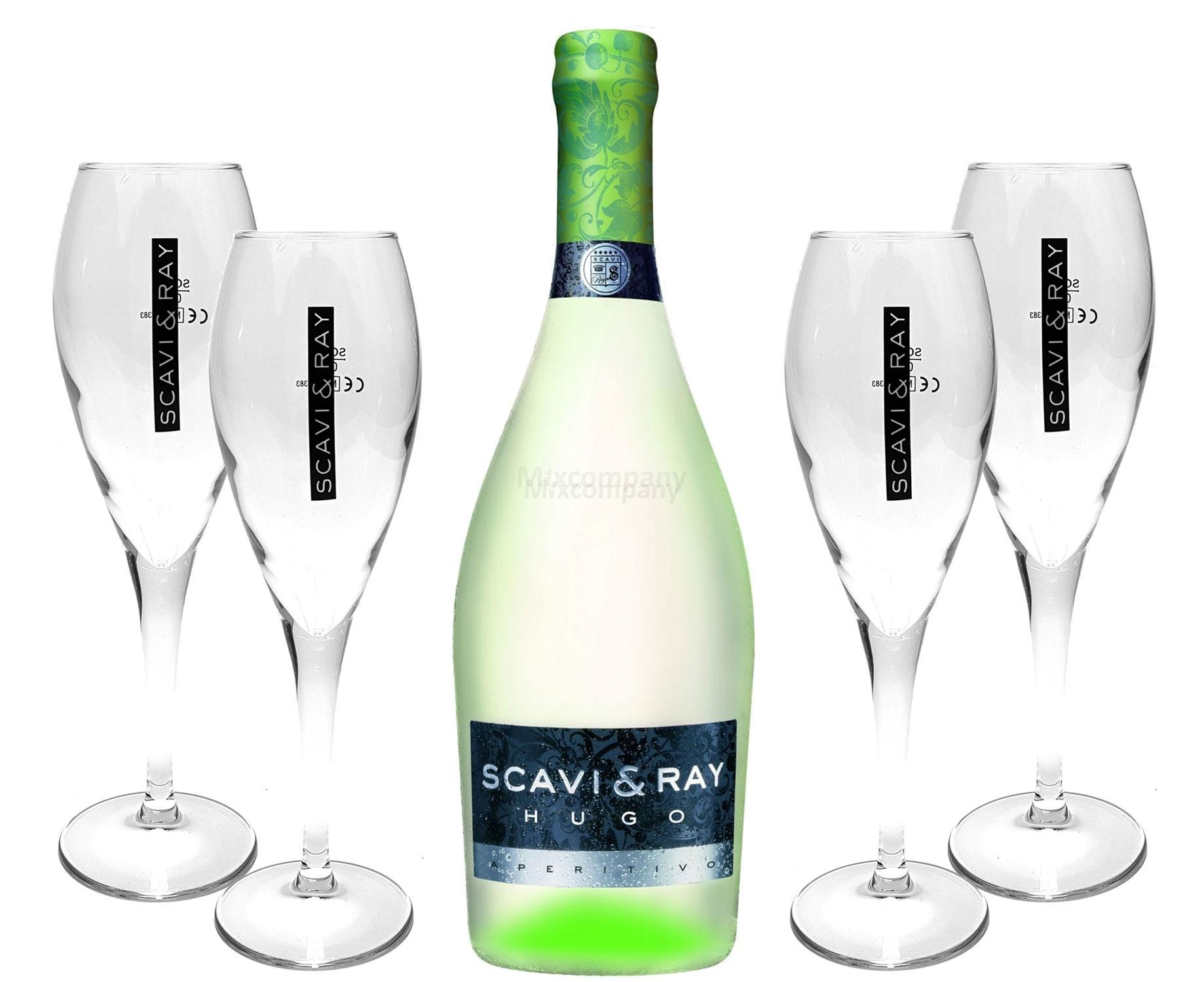 Scavi & Ray Hugo Aperitivo 0,75l (6% Vol) + 4x Flöten (10cl) -[Enthält Sulfite]