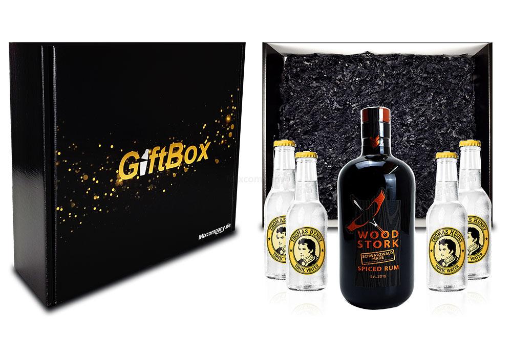 Mixcompany Geschenkset - Wood Stork Rum 0,5L (40%Vol) + 4 x Thomas Henry Tonic Water 0,2l MEHRWEG inkl. Pfand- Wood Stork Rum Geschenk Set [Enthält Sulfite]