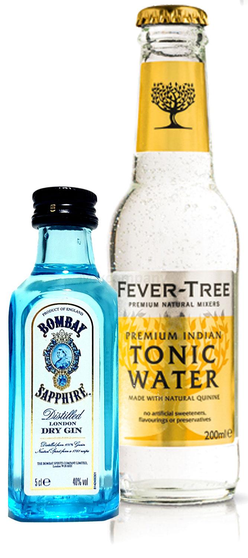 Gin Tonic Probierset - Bombay Sapphire London Dry Gin 50ml (40% Vol) + Fever-Tree Tonic Water 200ml inkl. Pfand MEHRWEG