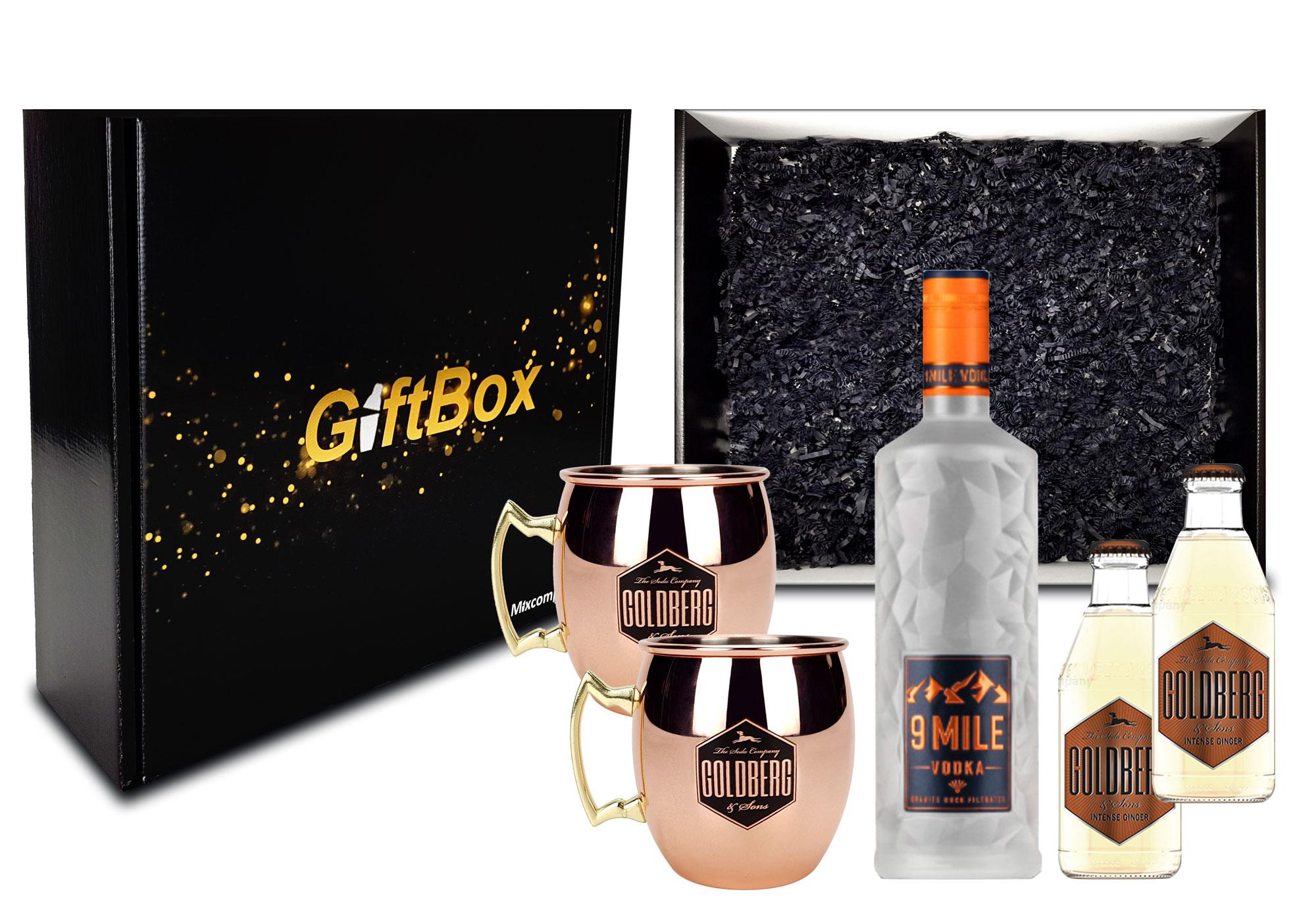 Moscow Mule Set Giftbox Geschenk Box Geschenkset 9 Mile Vodka Wodka 0,7l (37,5% Vol) LED beleuchtet + 2x Goldberg Kupferbecher + 2x Goldberg Intense Ginger 200ml - Inkl. Pfand MEHRWEG- [Enthält Sulfite]