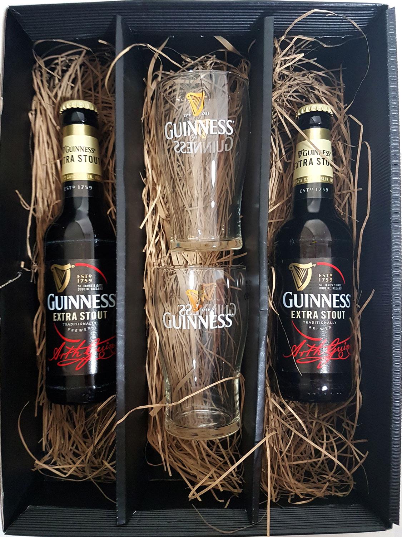 Guinness Geschenkset - 2x Guinness Extra Stout Bier 0,33L (4,1% Vol) + 2x Gläser - Inkl. Pfand MEHRWEG