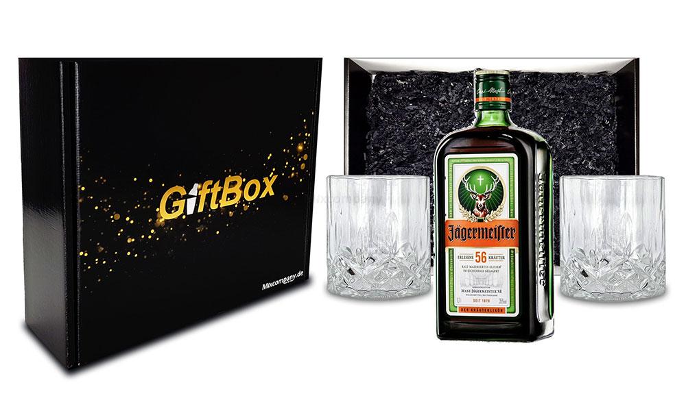 Geschenkset - Jägermeister Kräuterlikör 0,7l 700ml (35% Vol) + 2x Tumbler in Kristall Optik- [Enthält Sulfite]