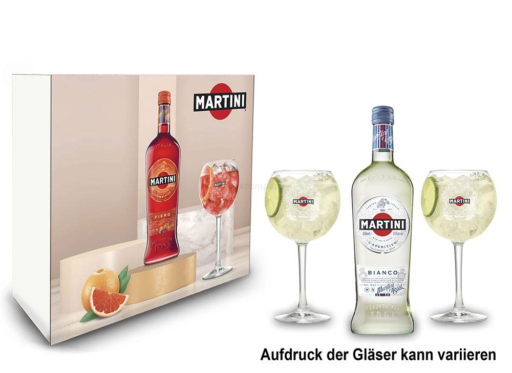 Martini Bianco Schuber Geschenkset - Wermuth 0,75L (14,4% Vol) + 2x Ballon Glas / Gläser-Set