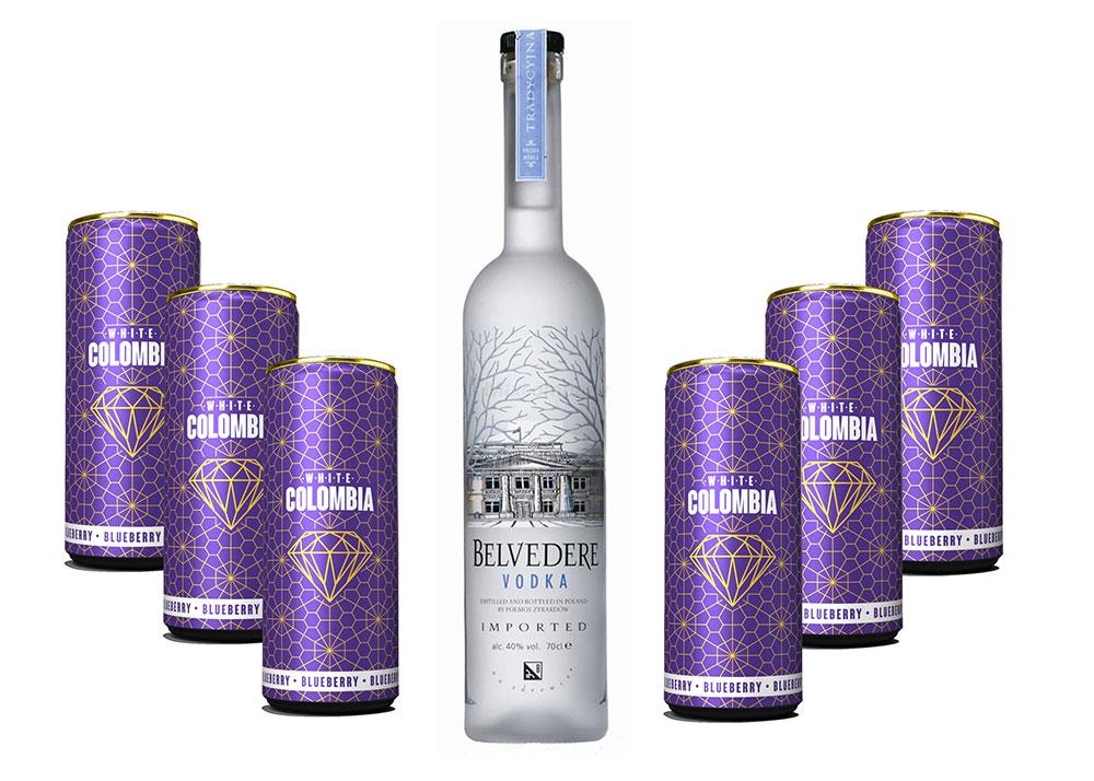 Belvedere Vodka 0,7l 700ml (40% Vol) + White Colombia Blueberry Set - Erfrischungsgetränk mit Blueberry Geschmack - 6x 250ml inkl. Pfand EINWEG- [Enthält Sulfite]