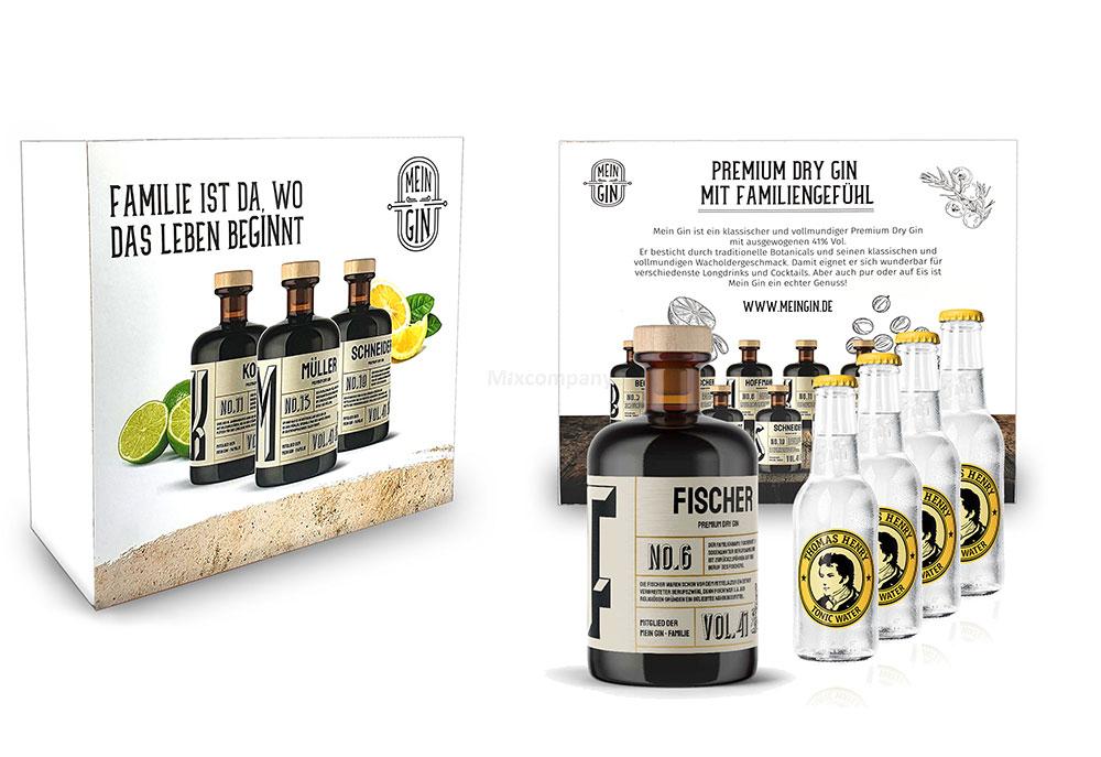 Mein Gin + Tonic Giftbox Geschenkset - Fischer Premium Dry Gin 0,5l (41% Vol) - Fischer s Gin No6 + 4x Thomas Henry Tonic Water 200ml inkl. Pfand MEHRWEG -[Enthält Sulfite]