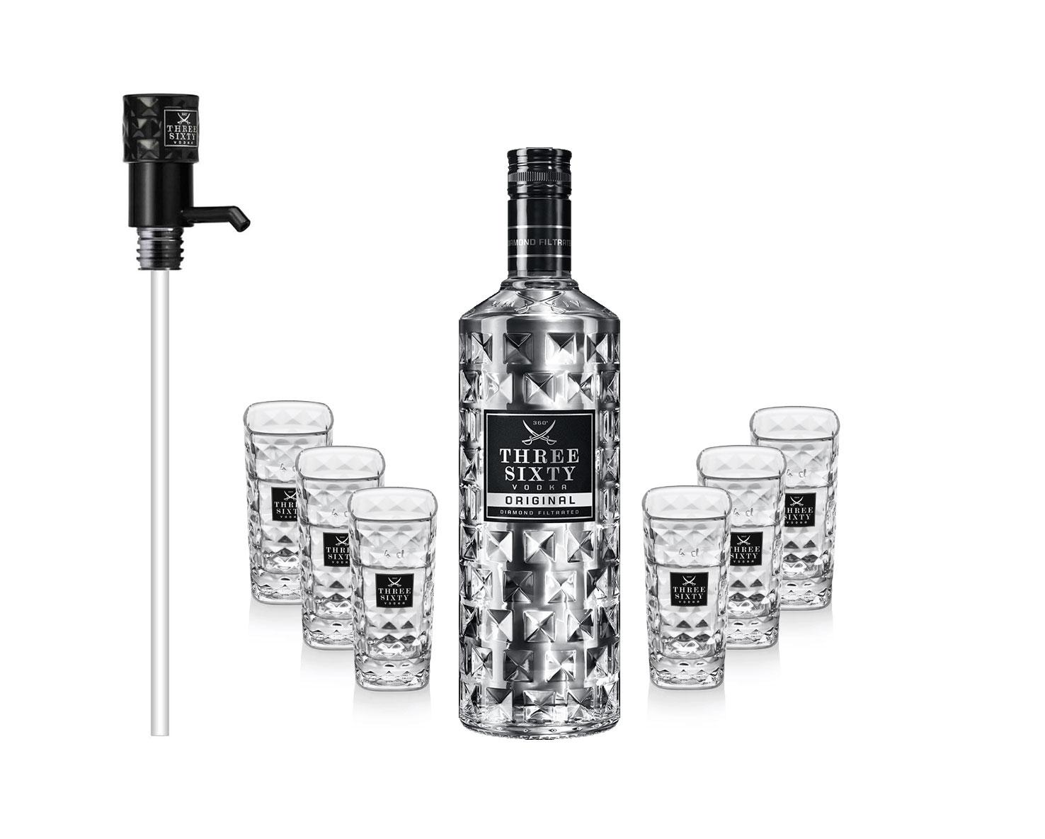 Three Sixty Set Geschenkset - Three Sixty Wodka Vodka 3L 3000ml (37,5% Vol) + Pumpe + 6x Shotgläser Glas 2 und 4cl geeicht- [Enthält Sulfite]