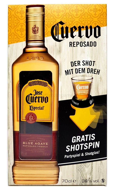 Jose Cuervo Geschenkset - Tequila Reposado Especial 0,7l 700ml (38% Vol) + Shotspin Patryspiel + Shotglas -[Enthält Sulfite]