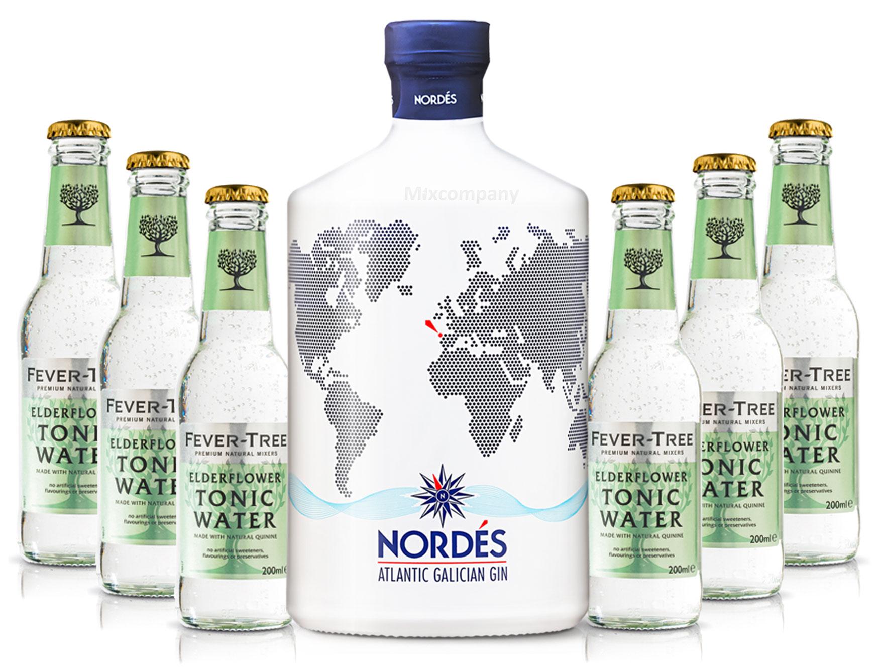 Nordes Atlantic Galician Gin aus Galizien 0,7l (40% Vol) + 6x Fever-Tree Elderflower Tonic Water 0,2l MEHRWEG inkl. Pfand- [Enthält Sulfite]