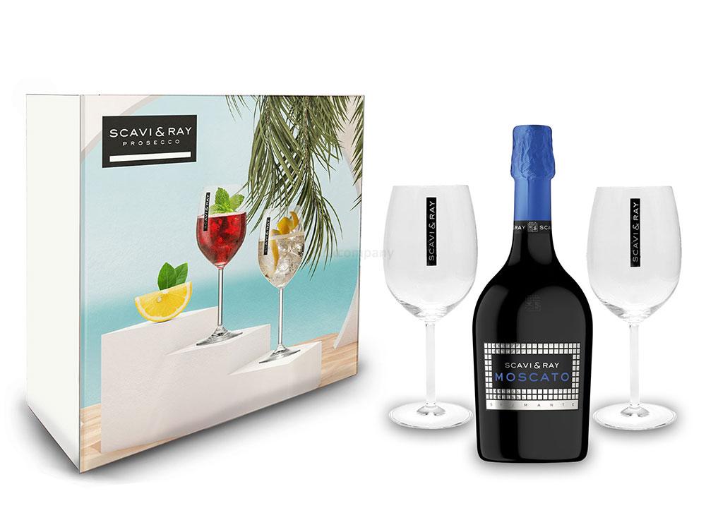 Scavi & Ray Geschenkset - Scavi & Ray Moscato Spumante 0,75l (7,5% Vol) + 2x Ballon Gläser (20cl) -[Enthält Sulfite]