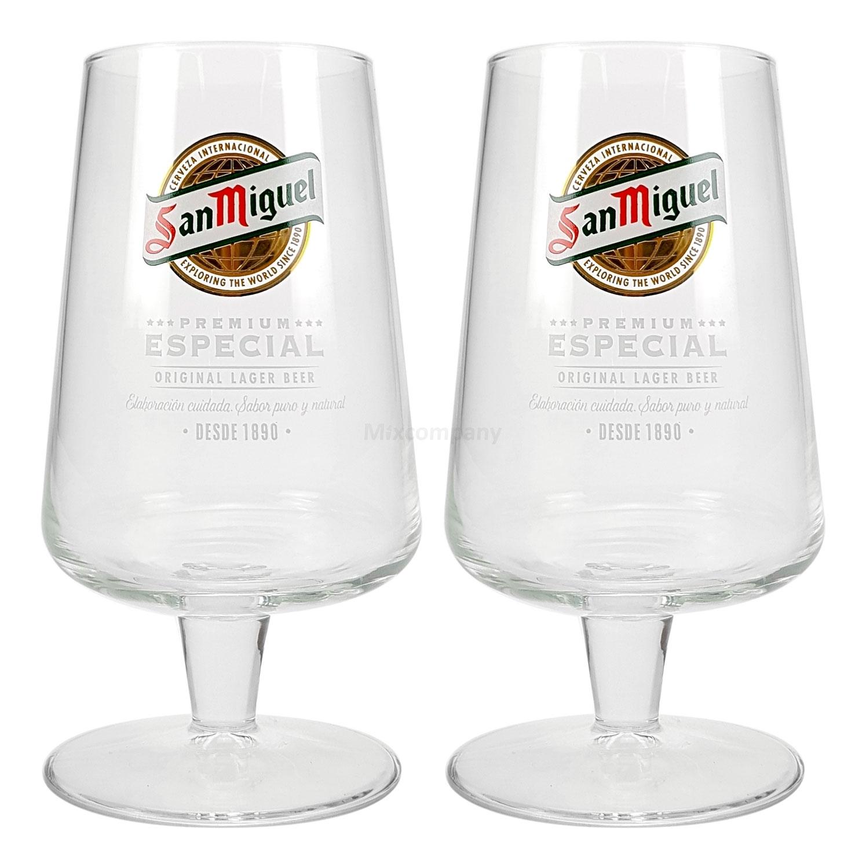 San Miguel Especial Bier Glas Bierglas Bierkelch Kelchglas Gläser Set - 2x Kelchgläser 20cl geeicht