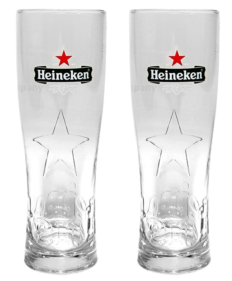 Heineken Bier 0,25 Glas Gläser Set - 2x Gläser 0,25 GEEICHT Bierglas Ellipse