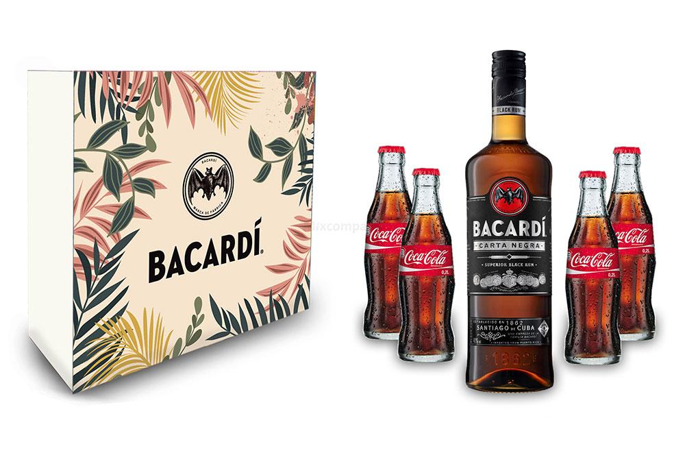 Bacardi Geschenkset - Bacardi Carta Negra Rum 0,7l 700ml (40% Vol) + 4x Coca Cola 0,2L Inkl. Pfand MEHRWEG- [Enthält Sulfite]