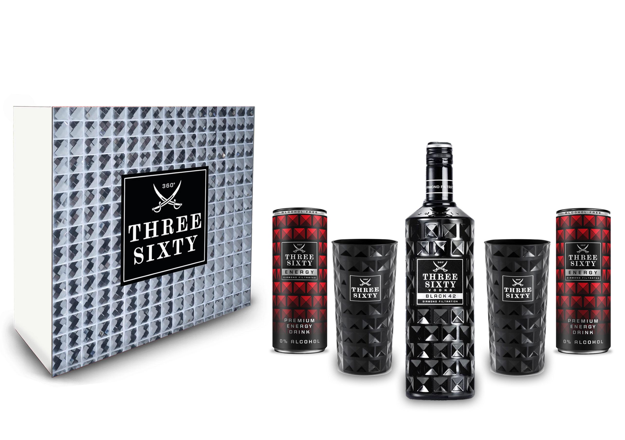 Three Sixty Geschenkset - Three Sixty Black Vodka 0,7L (42 % Vol) + 2x Energy Drink 250ml inkl. Pfand EINWEG + 2x black Gläser eckig Longdrink Glas in schwarz 300ml Fassung Kristall Glas - [Enthält Sulfite]