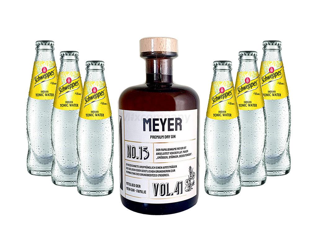 Mein Gin - Meyer Premium Dry Gin 0,5l (41% Vol) - Meyer s Gin No.13 + 6x Schweppes Indian Tonic Water 200ml inkl. Pfand MEHRWEG -[Enthält Sulfite]