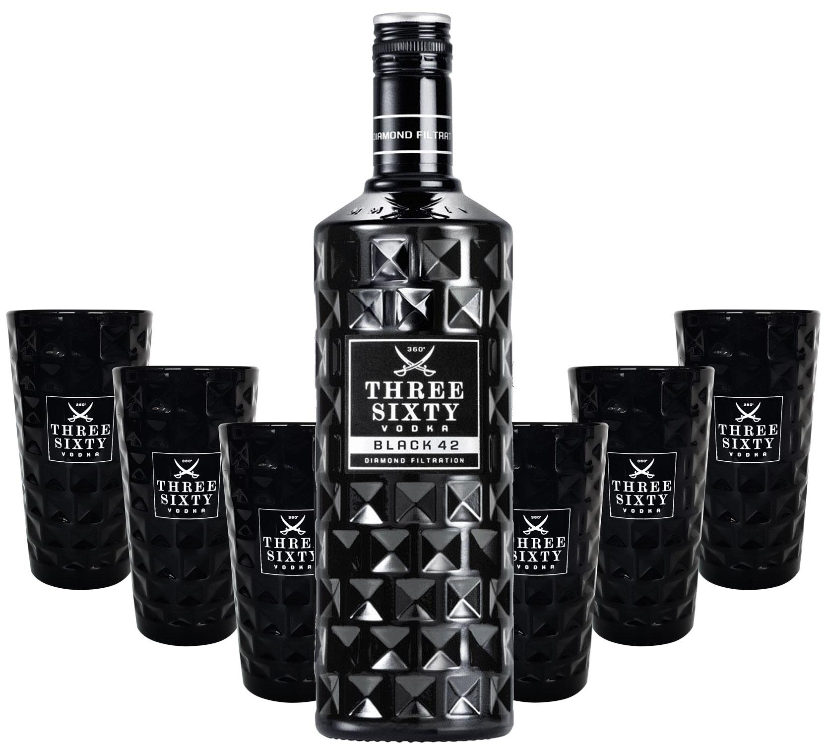 Three Sixty Black 42 Vodka 3L (42% Vol) + 6x Black Longdrink-Gläser eckig schwarz -[Enthält Sulfite]