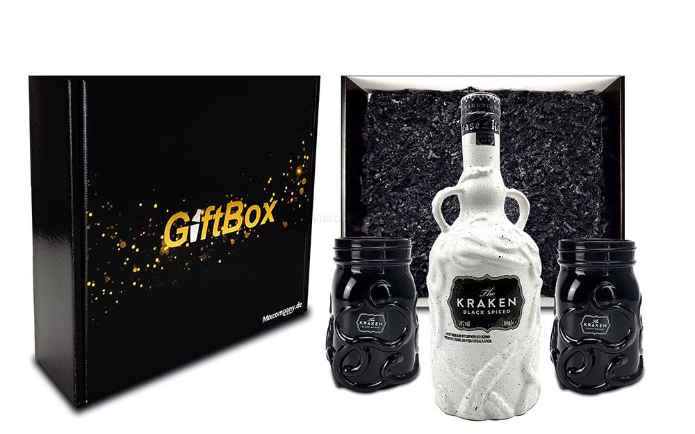 Geschenkset The Kraken Black Spiced Rum keramik weiß 0,7L (40% Vol) + 2x Kraken Rum Keramik Glas schwarz in Geschenkverpackung- [Enthält Sulfite]
