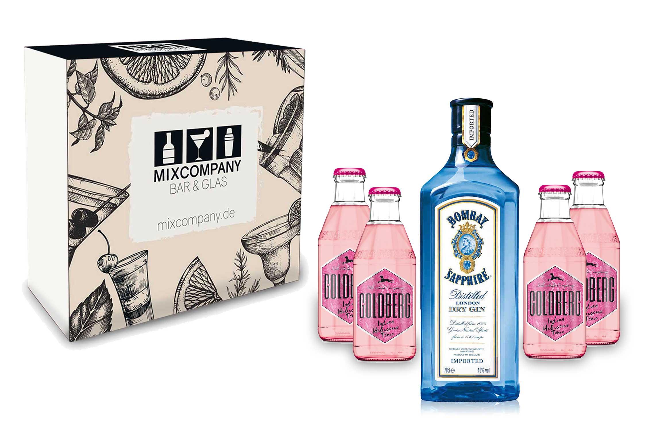Gin Tonic Set Giftbox Geschenkset - Bombay Sapphire London Dry Gin 0,7l 700ml (40% Vol) + 4x Goldberg Indian Hibiscus Tonic 200ml inkl. Pfand MEHRWEG -[Enthält Sulfite]