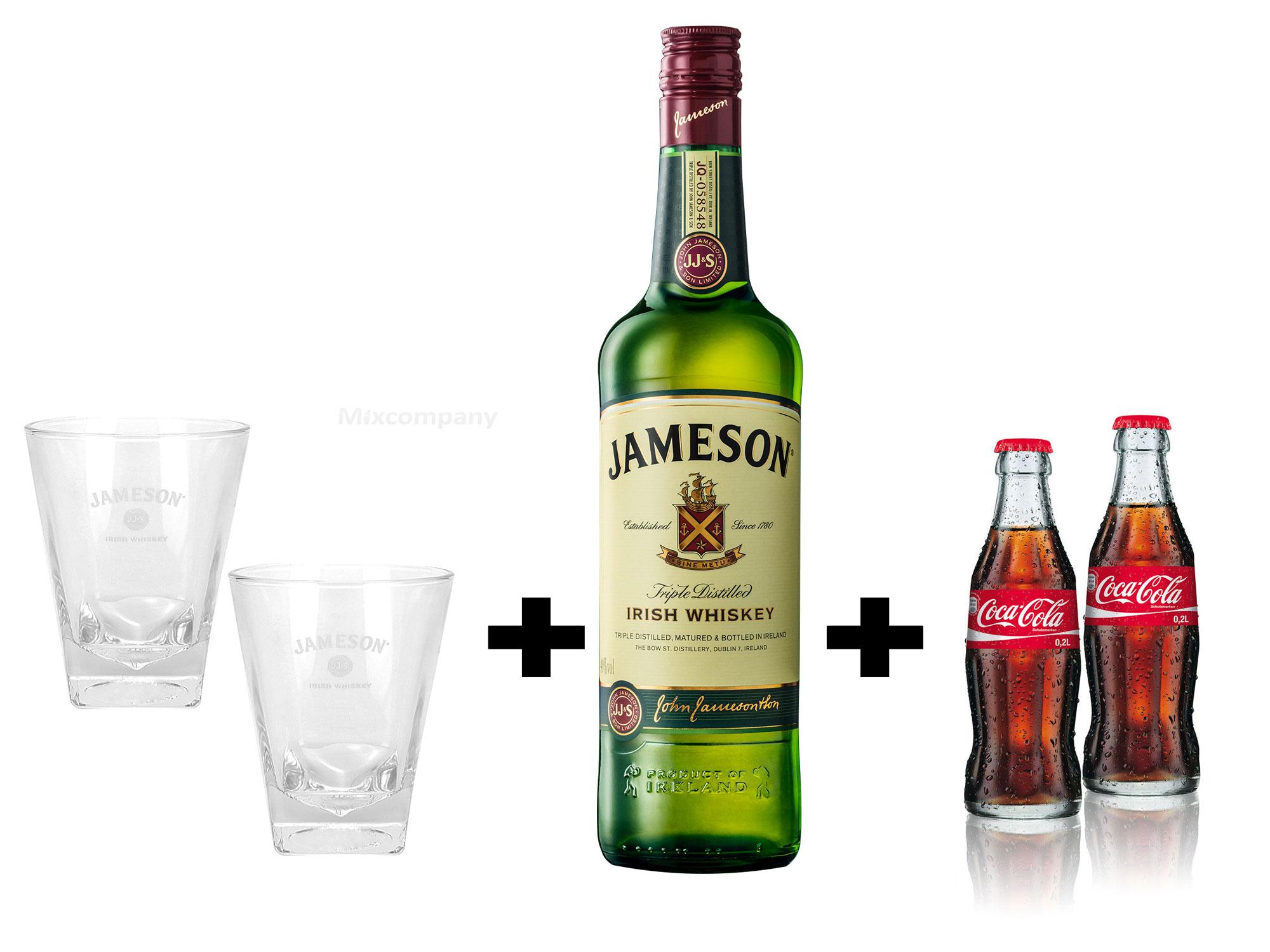 Jameson Irish Whiskey 1,0l (40% Vol) + 2x Tumbler + 2 x Coca Cola 0,2l MEHRWEG inkl. Pfand Whisky- [Enthält Sulfite]