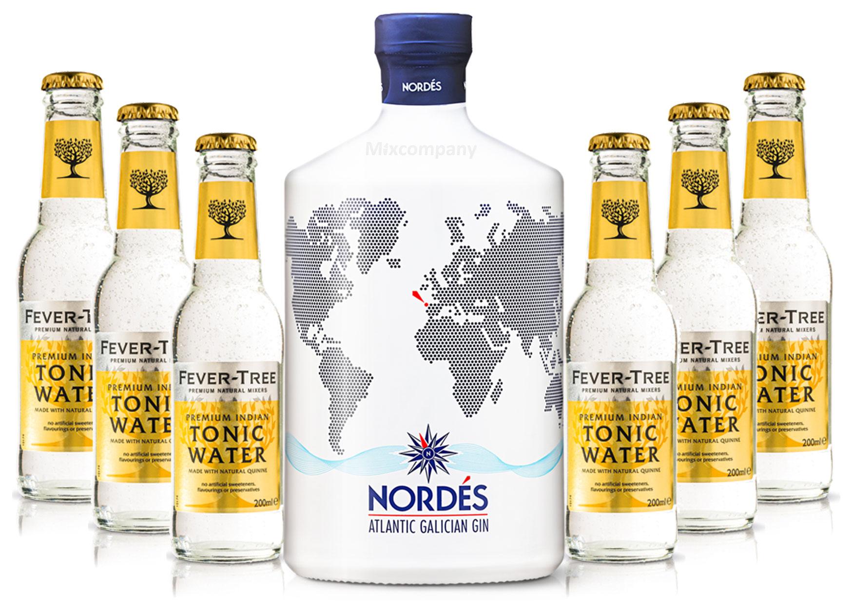 Nordes Atlantic Galician Gin aus Galizien 0,7l (40% Vol) + 6x Fever-Tree Premium Indian Tonic Water 0,2l MEHRWEG inkl. Pfand- [Enthält Sulfite]