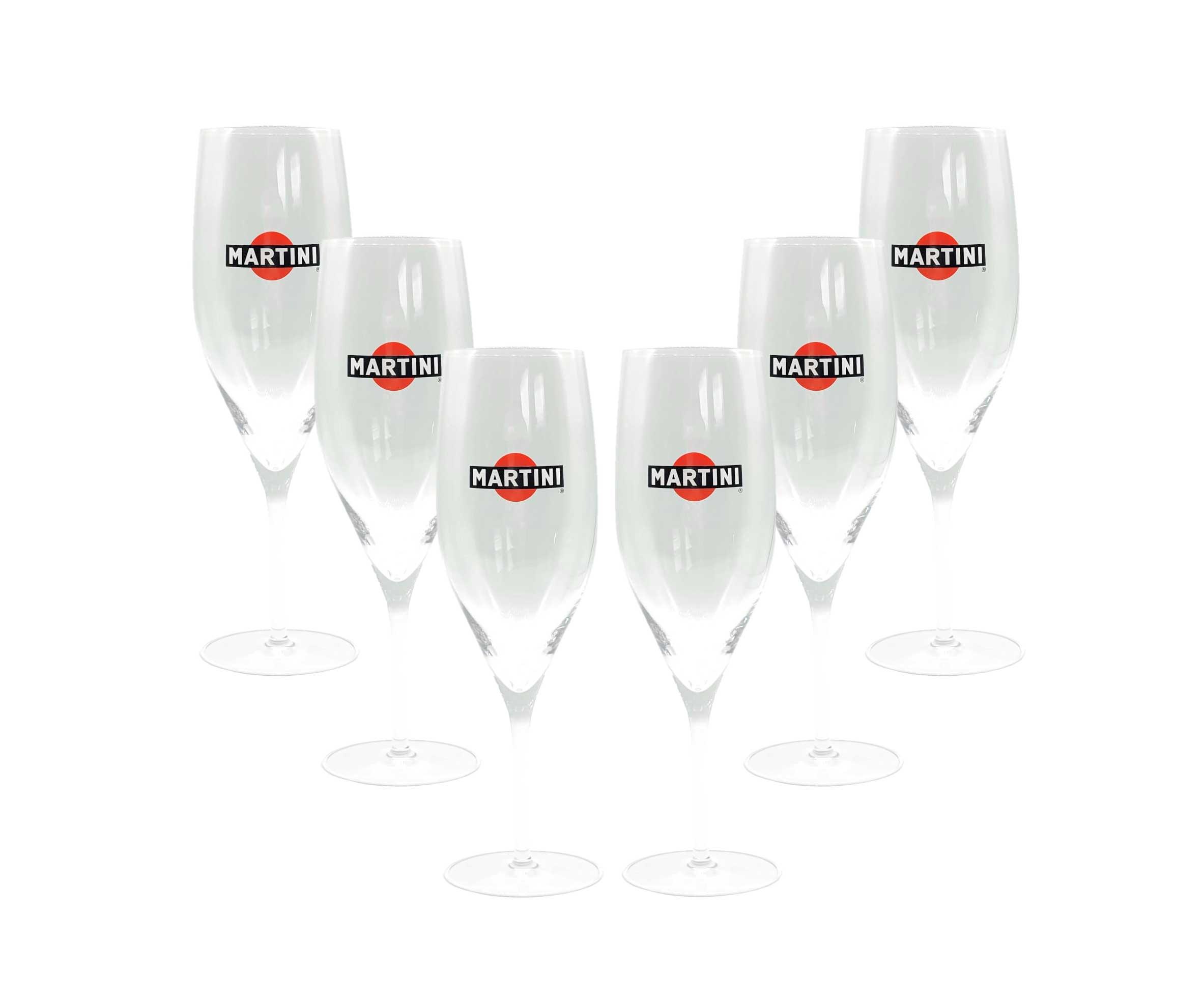Martini Prosecco Flöten Gläser Set - 6x Sektglas