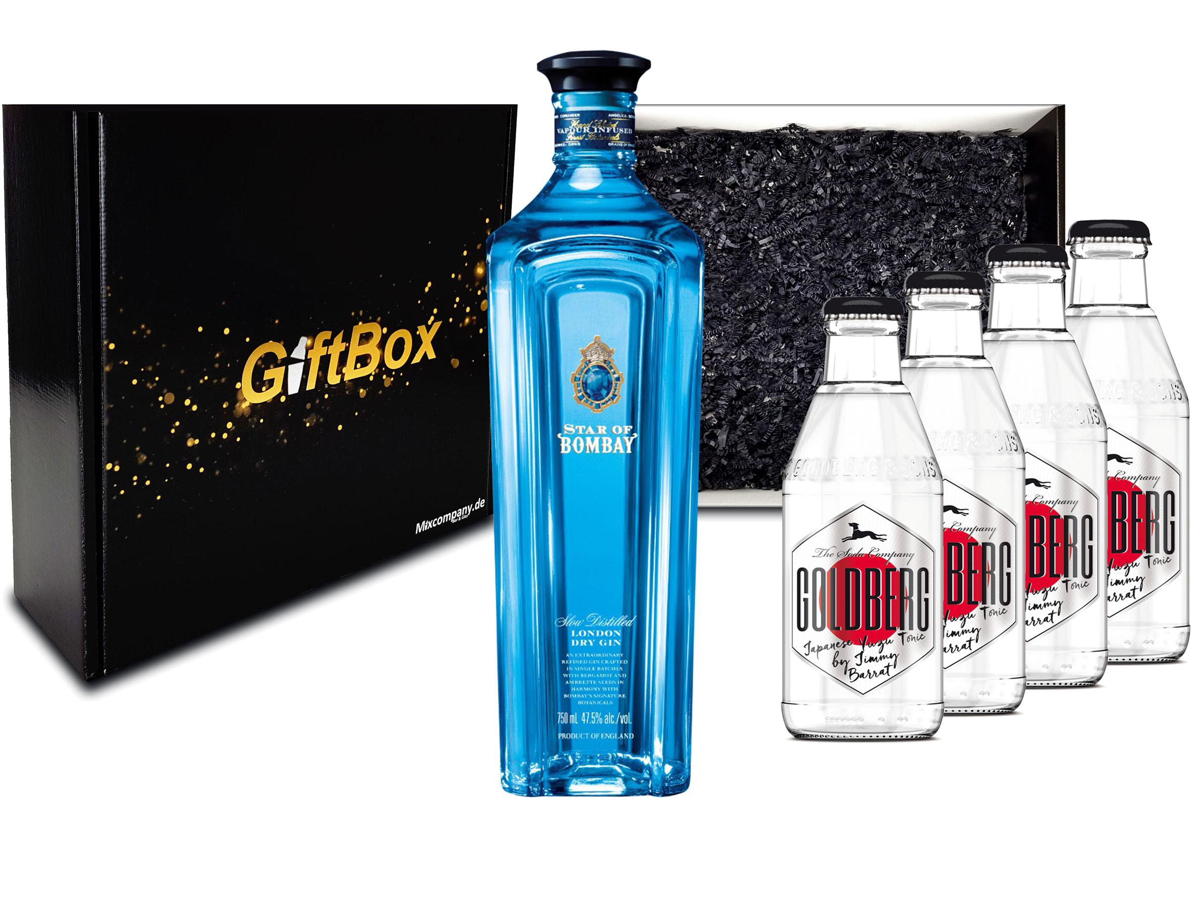 Gin Tonic Set Giftbox Geschenkset - Star of Bombay Slow Distilled London Dry Gin 0,7l (47,5% Vol) + 4x Goldberg Japanese Yuzu Tonic Water 200ml inkl. Pfand MEHRWEG -[Enthält Sulfite]