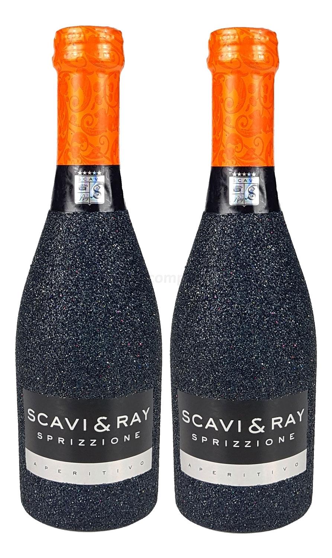 Scavi & Ray Sprizzione Aperitivo 20cl (8% Vol) - Bling Bling Glitzerflasche in schwarz Aktion - 2 Stück (2x 0,2l = 0,4l) -[Enthält Sulfite]