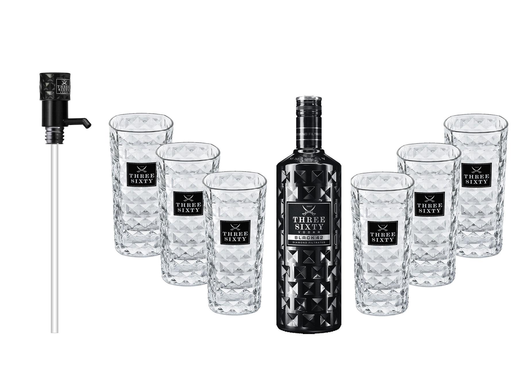 Three Sixty Black 42 Vodka 3L (42% Vol) + Pumpe + 6x Longdrink Gläser eckig -[Enthält Sulfite]
