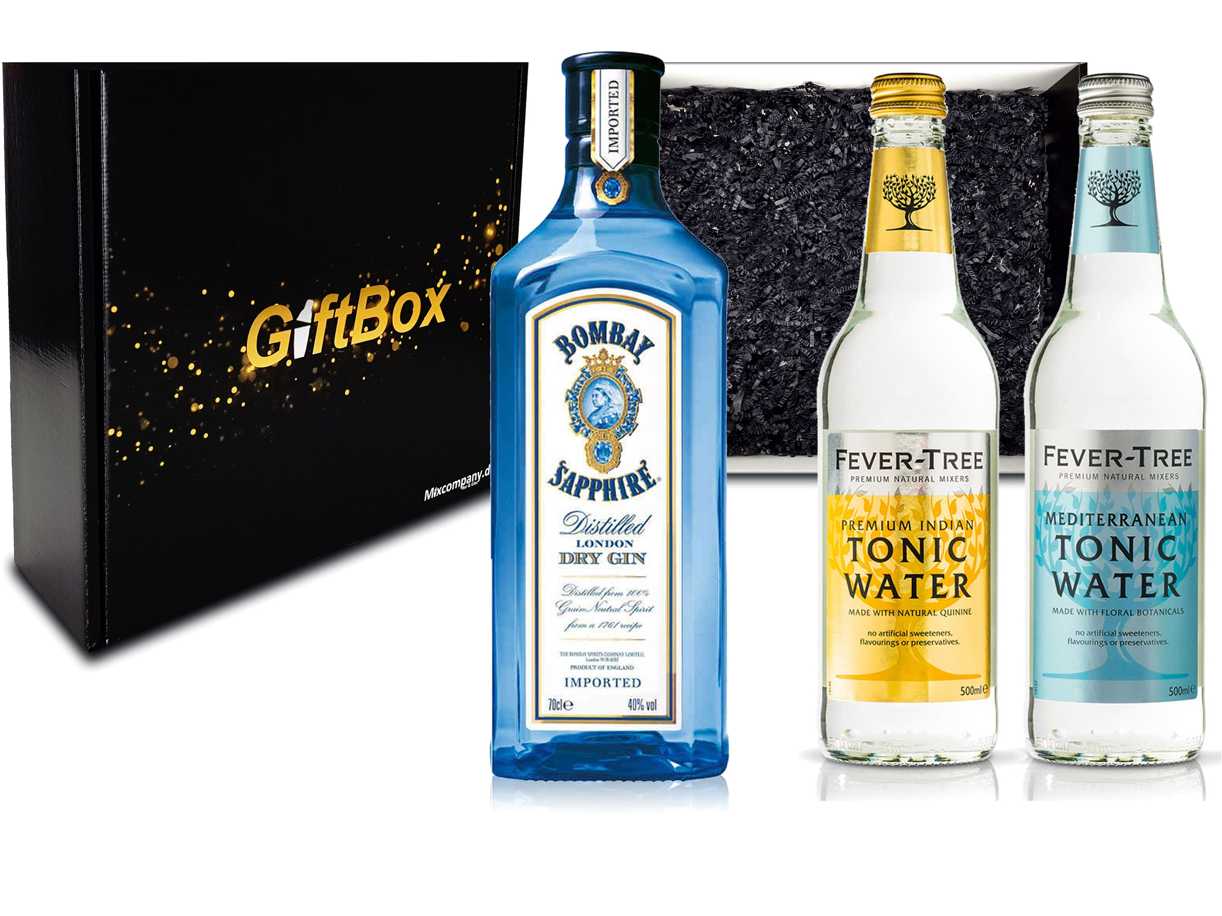 Gin Tonic Set Giftbox Geschenkset - Bombay Sapphire London Dry Gin 0,7l 700ml (40% Vol) + 2x Fever Tree Tonic Water Mix je 500ml -[Enthält Sulfite] - Inkl. Pfand MEHRWEG
