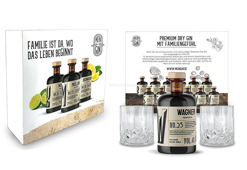 Mixcompany Geschenkset - Mein Gin Set - Wagner No 25 Gin 0,5L (41% Vol) + 2x Tumbler Glas in Kristall optik- [Enthält Sulfite]