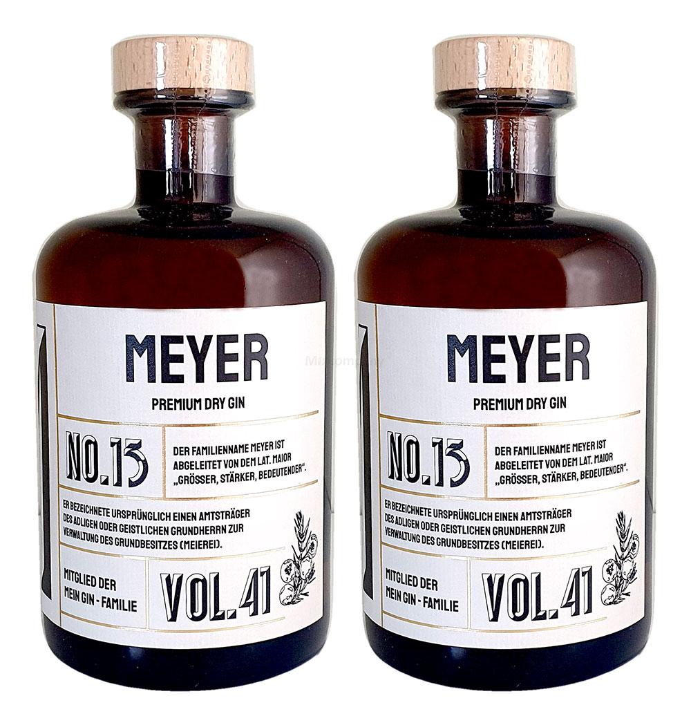 Meyer 's Premium Dry Gin No13 - 2er Set Der Meyer Gin 0,5L (41% Vol)- [Enthält Sulfite]