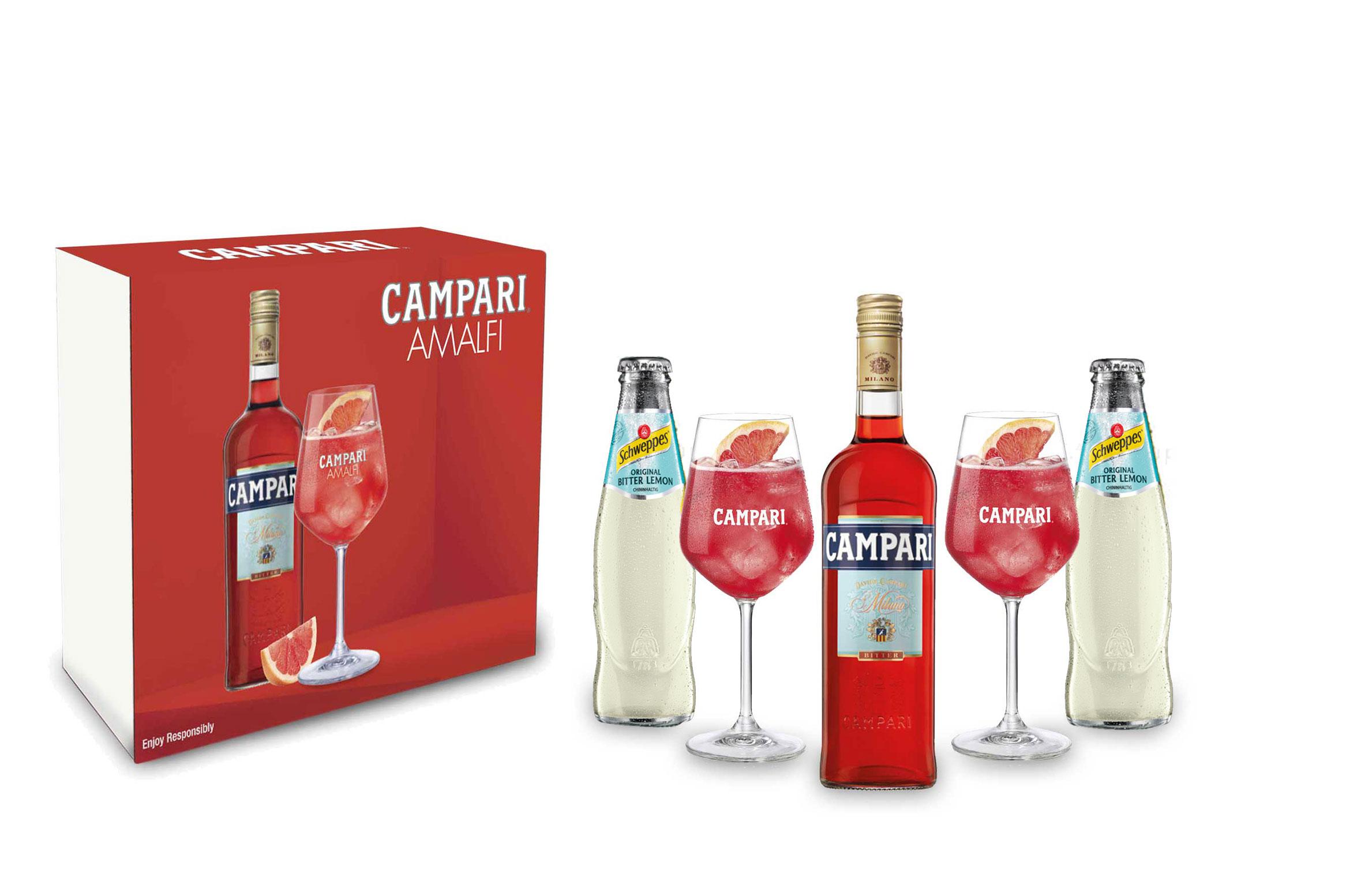 Campari Amalfi Geschenkset - Campari Aperitif 0,7L (25% Vol) Schuber mit 2x Wein Gläser + 2x Schweppes Bitter Lemon in Giftbox inkl. Pfand MEHRWEG - [Enthält Sulfite]