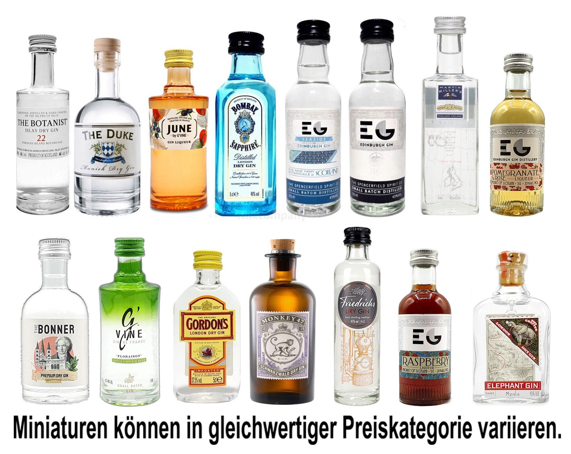 Gin Mini Set Probierset 15er - Bombay + 4 Edinburgh + June + Gordons + Monkey 47 + Friedrichs + The Bonner + The Botanist + Duke + Elephant + Millers + G Vine - NEU