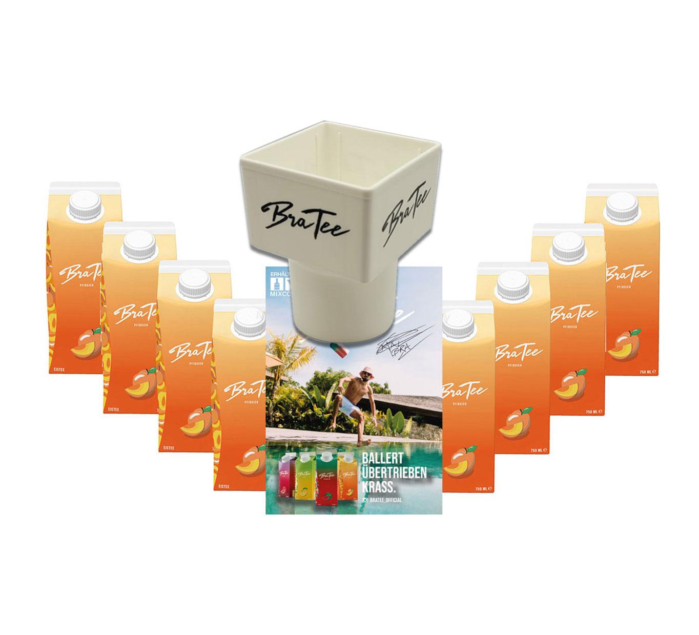 Capital BraTee 8er Set Eistee Pfirsich Peach 750ml + Gratis Getränkehalter + Autogrammkarte BRATEE Ice tea - Der Klassiker unter den Eistees: Pfirsichgeschmack. Dazu noch mit Capi-Qualitäts-Siegel - Du weisst Bescheid